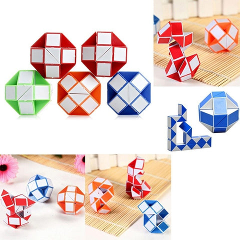 1pc Magic Snake Shape Toy Game 3D Rubix Rubic Cube Puzzle Twist Puzzle Toy