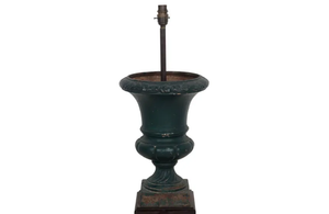 PAIR OF IRON MEDICI URN TABLE LAMPS