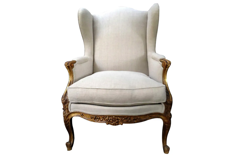 LOUIS XVI REVIVAL WING BACK ARMCHAIR