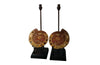 PAIR OF AMMONITE LAMPS