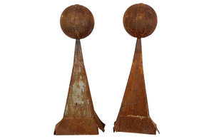 PAIR OF FRENCH DECORATIVE IRON FINIALS