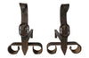 PAIR OF IRON BUCKLE ANDIRONS