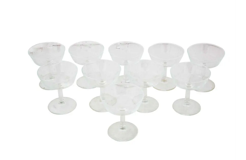 TEN VINTAGE CHAMPAGNE COUPES