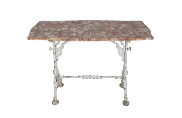 FRENCH MARBLE & CAST IRON TABLE