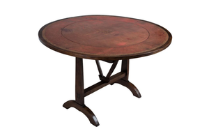 FRENCH LEATHER TOP VINEYARD TABLE