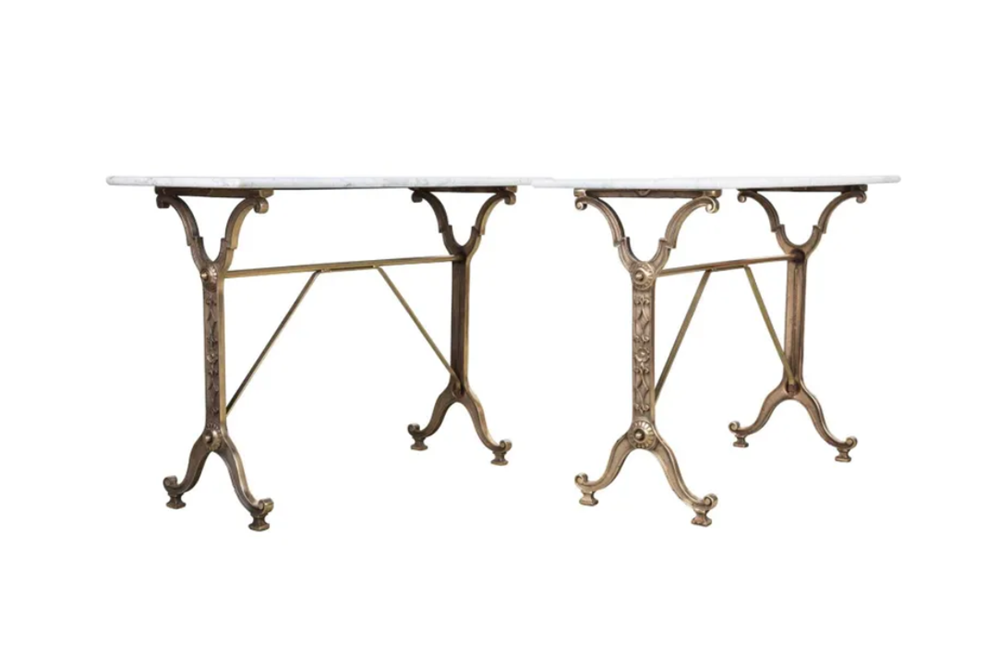 PAIR  OF STYLISH BRASSED BISTRO TABLES