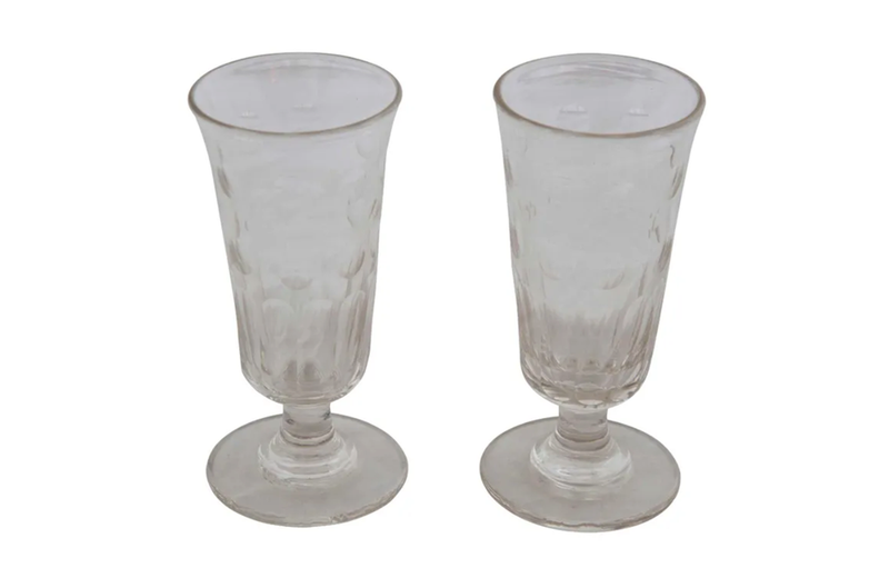 PAIR OF FRENCH ABSINTHE GLASSES
