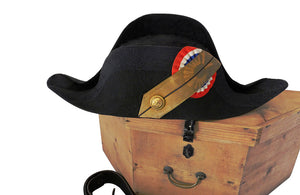 FRENCH NAVAL BICORNE HAT, BELT & HATBOX
