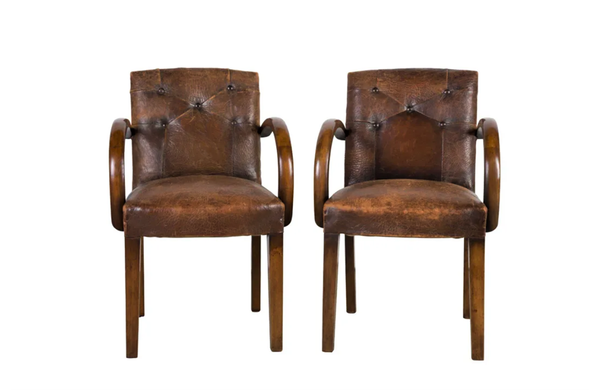 PAIR OF 1940's LEATHER BRIDGE CHAIRS