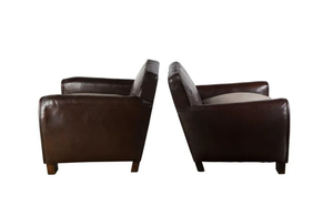 PAIR OF 1940'S LEATHER CLUB CHAIRS