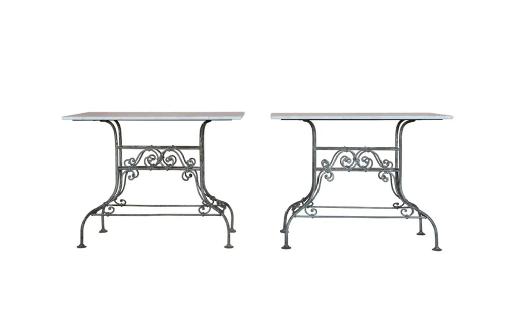 PAIR OF FRENCH IRON & MARBLE CONSOLE TABLES - FRENCH GARDEN ANTIQUES - AD & PS ANTIQUES