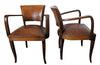 FOUR LEATHER BRIDGE CHAIRS