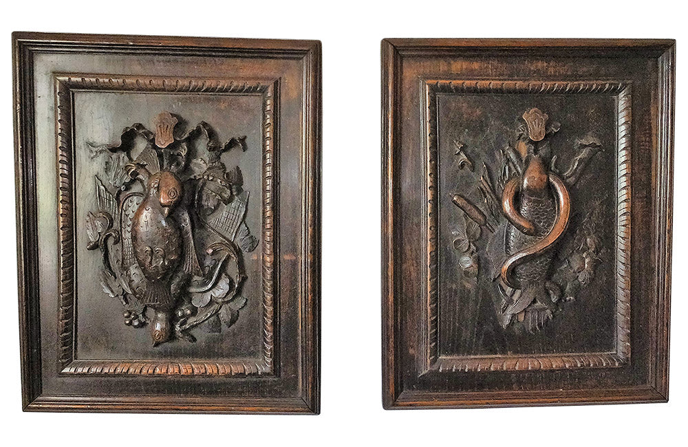 PAIR OF CARVED HUNTING & FISHING PANELS