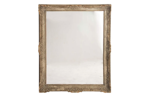 LARGE FRENCH CARVED GILTWOOD MIRROR