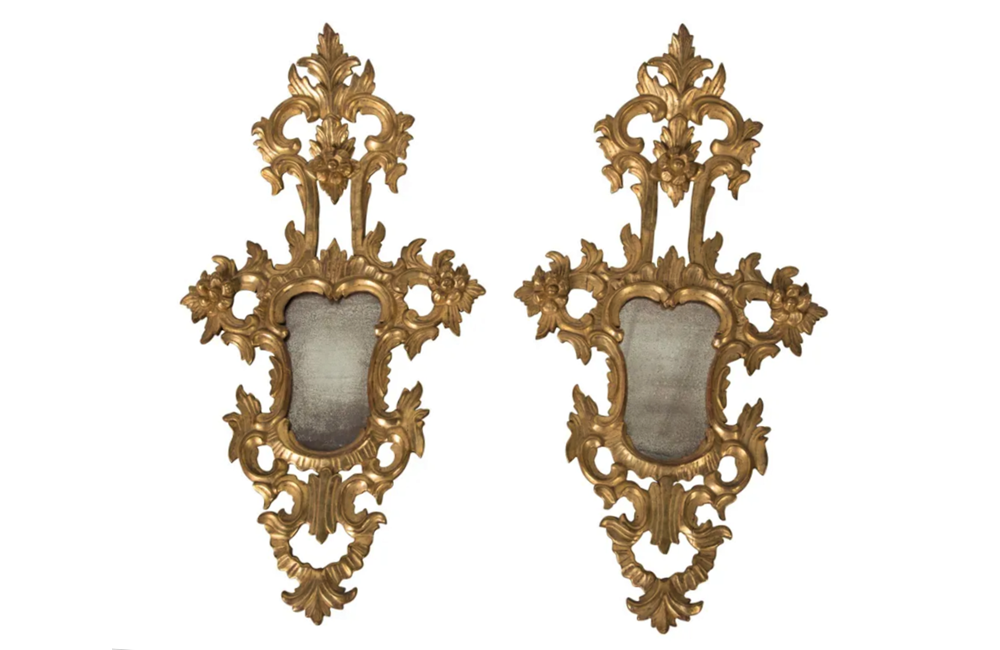 PAIR OF VENETIAN CARVED GILTWOOD MIRRORS