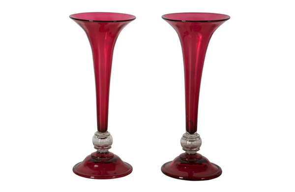 PAIR OF LARGE TRUMPET VASES