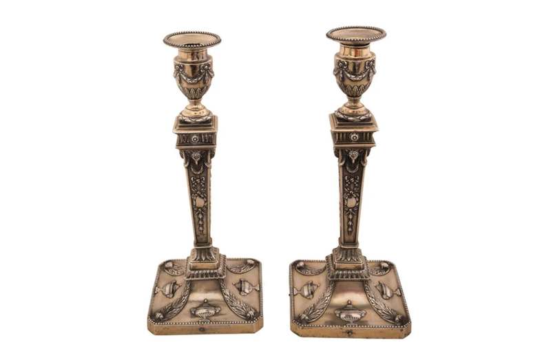 PAIR OF NEO-CLASSICAL REVIVAL CANDLESTICKS