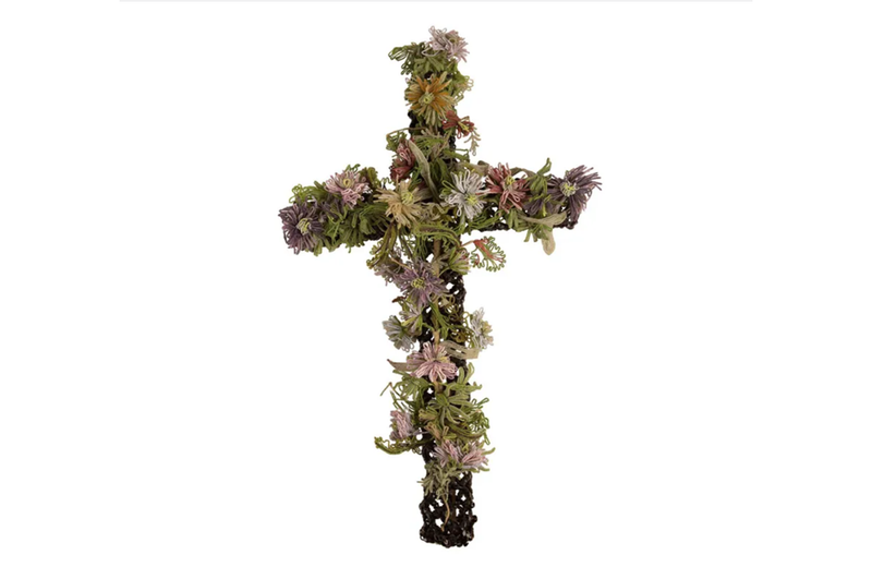 BEAUTIFUL FRENCH BEADWORK CROSS