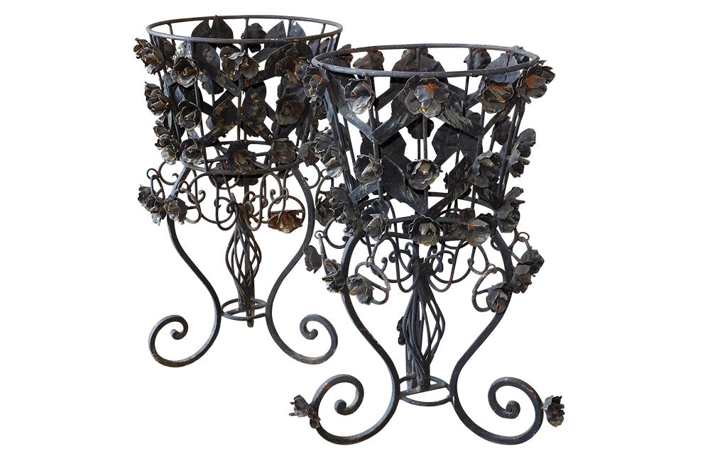 DECORATIVE IRON JARDINIERES