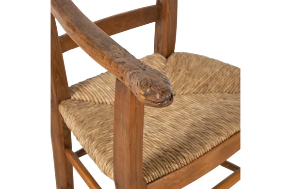 ART-POPULAIRE CARVED SERPENT ARMCHAIR