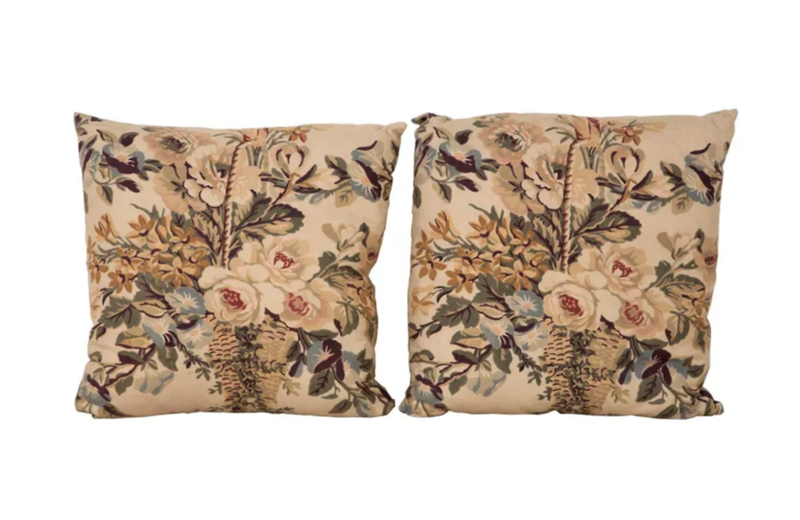 PAIR OF FLOWER BASKET CUSHIONS