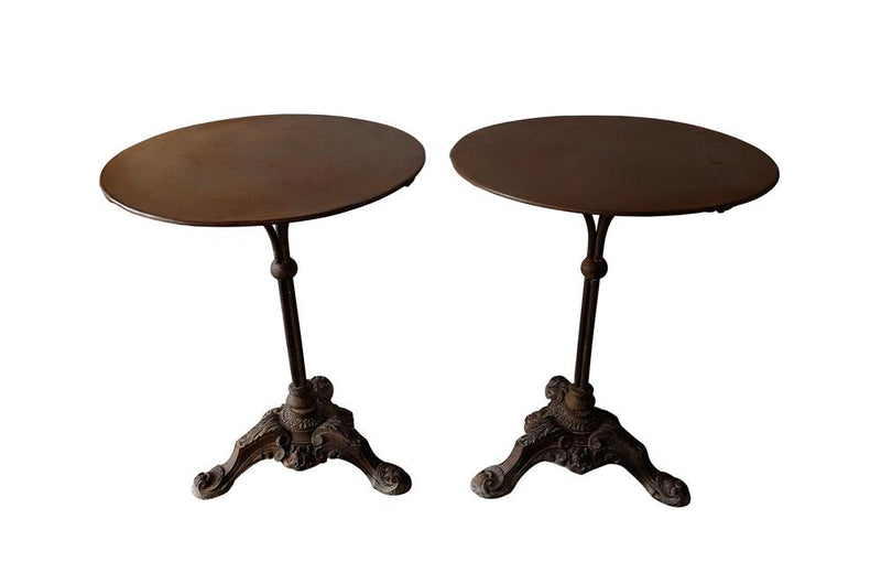 PAIR OF FRENCH IRON CAFE TABLES