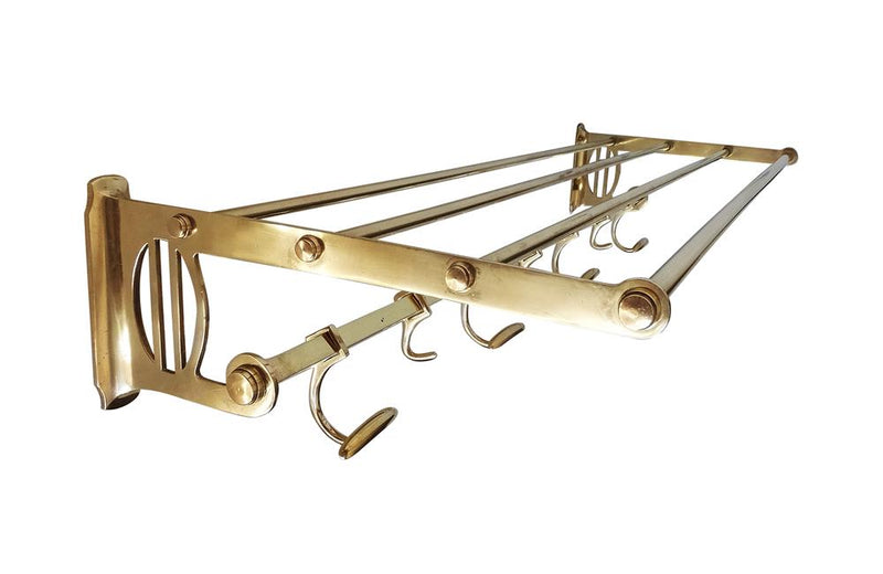 BRASS COAT/HAT RACK & HOOKS