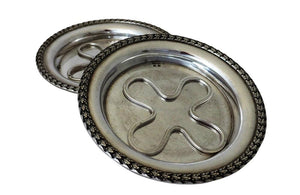 PAIR OF SILVERPLATE COASTERS BY BOULENGER