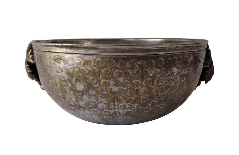 HAMMERED SILVERPLATE GRAPE DISH