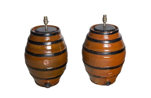PAIR OF POTTERY BARREL TABLE LAMPS