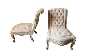 PAIR OF TUFTED SLIPPER CHAIRS