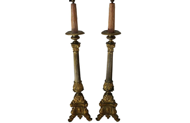 Pair Of Brass Ecclesiastic Lamps