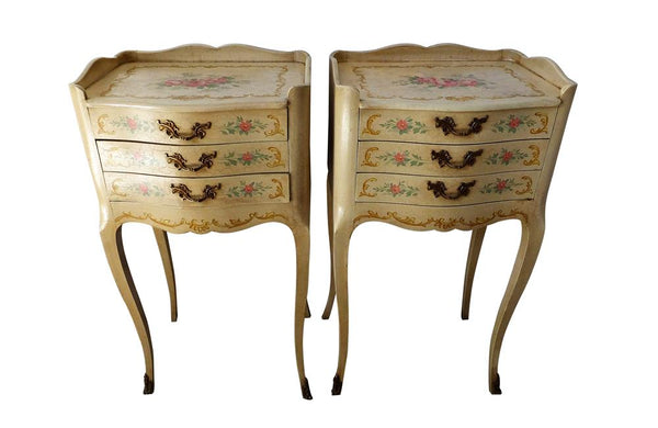 PAIR OF ITALIAN LOUIS XV REVIVAL NIGHTSTANDS