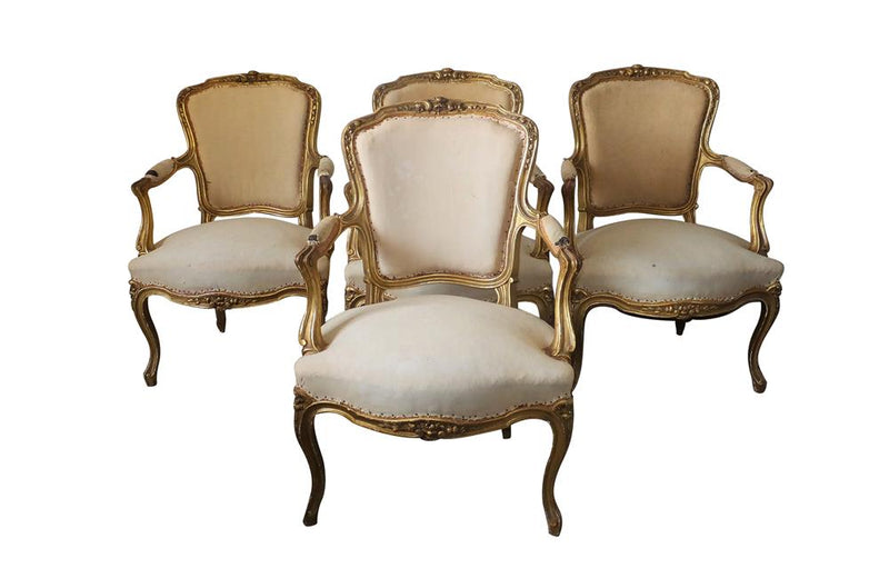SET OF FOUR LOUIS XV REVIVAL ARMCHAIRS
