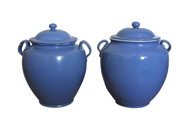 PAIR OF BLUE CONFIT POTS WITH LIDS
