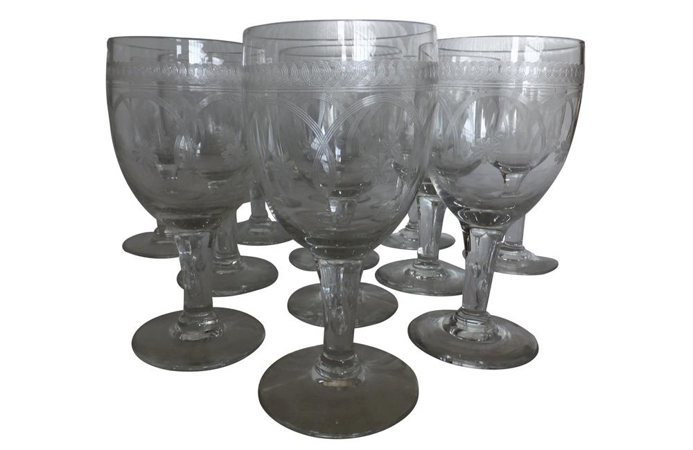 SET OF TWELVE ETCHED WINE GLASSES