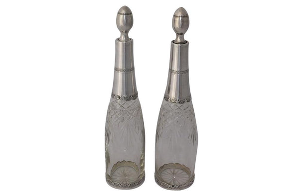 PAIR OF SILVER & CRYSTAL DECANTERS