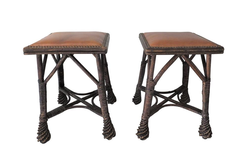 PAIR OF AESTHETIC MOVEMENT STOOLS