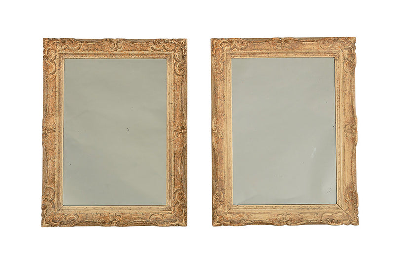 PAIR OF FRENCH CARVED FRAMED MIRRORS