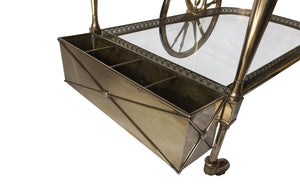 FRENCH BRASS COCKTAIL TROLLEY