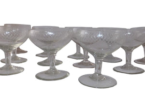 TWELVE ETCHED CHAMPAGNE COUPES