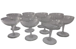 TEN BEAUTIFUL ETCHED CHAMPAGNE COUPES