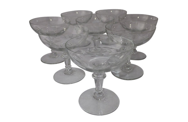 EIGHT THUMBNAIL CUT CHAMPAGNE COUPES