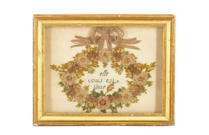 19TH CENTURY FRAMED SILKWORK 'IT IS DUE TO YOU'