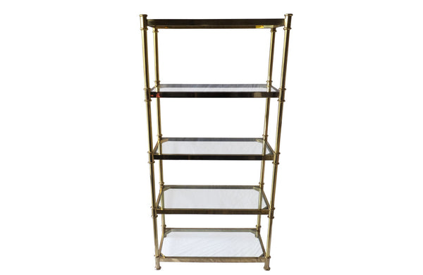 VINTAGE BRASS & GLASS OPEN SHELVES - CURRENTLY RESERVED -