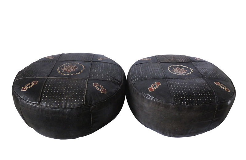 PAIR OF LARGE VINTAGE LEATHER POUFFES