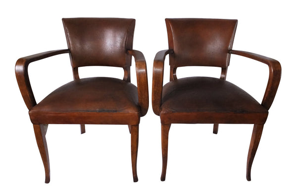 PAIR OF VINTAGE LEATHER BRIDGE CHAIRS