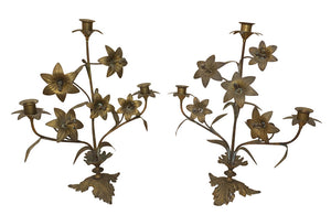 PAIR OF PRETTY BRASS LILY CANDLEABRAS
