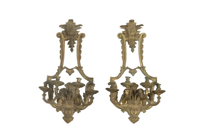Pair of large 19th Century Bronze Appliques - Decorative French Antiques - AD & PS Antiques