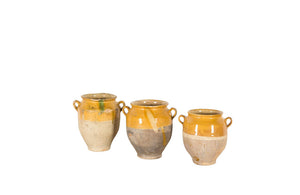 SET OF THREE YELLOW GLAZED CONFIT POTS
